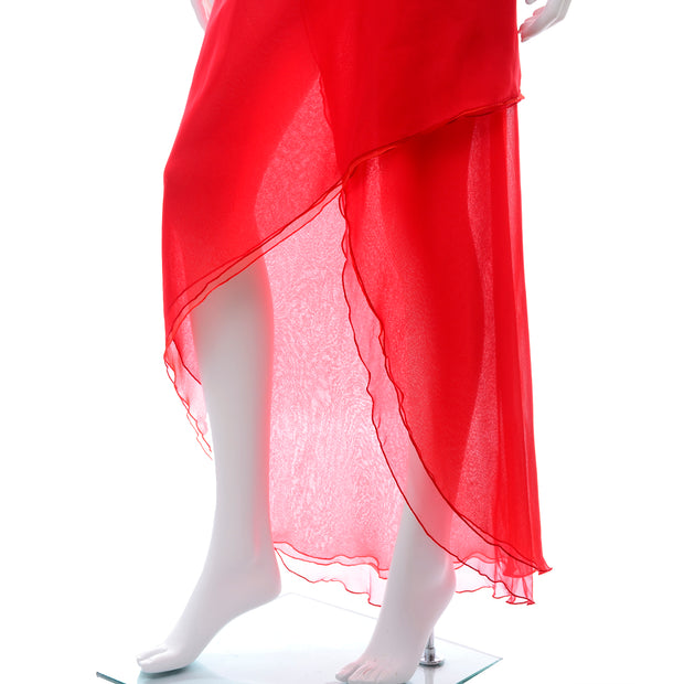 Victor Costa Vintage Chiffon One Shoulder red 1970s Dress