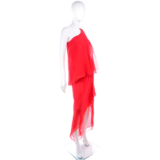 1970s Victor Costa Red Vintage Chiffon One Shoulder Dress