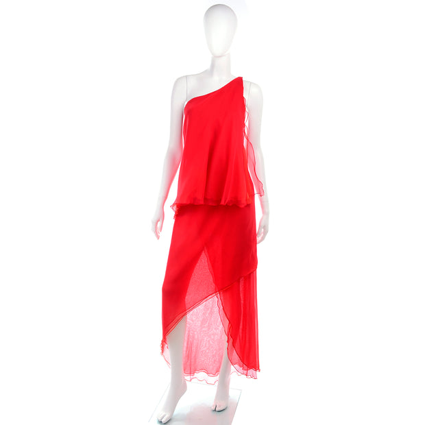 70s Victor Costa Red Chiffon One Shoulder Vintage Dress