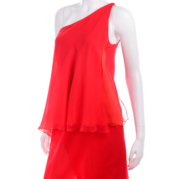 Victor Costa Vintage 1970s Chiffon One Shoulder red Dress
