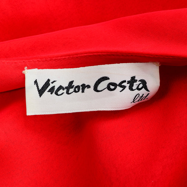 Victor Costa Vintage Chiffon 1970s One Shoulder red Dress