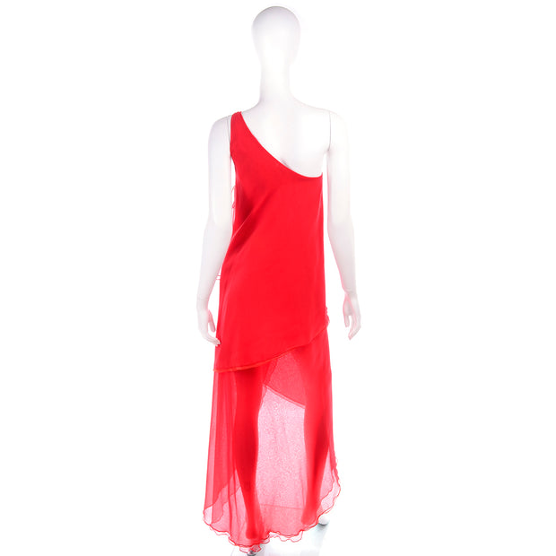 Red 1970s Victor Costa Vintage Chiffon One Shoulder Dress