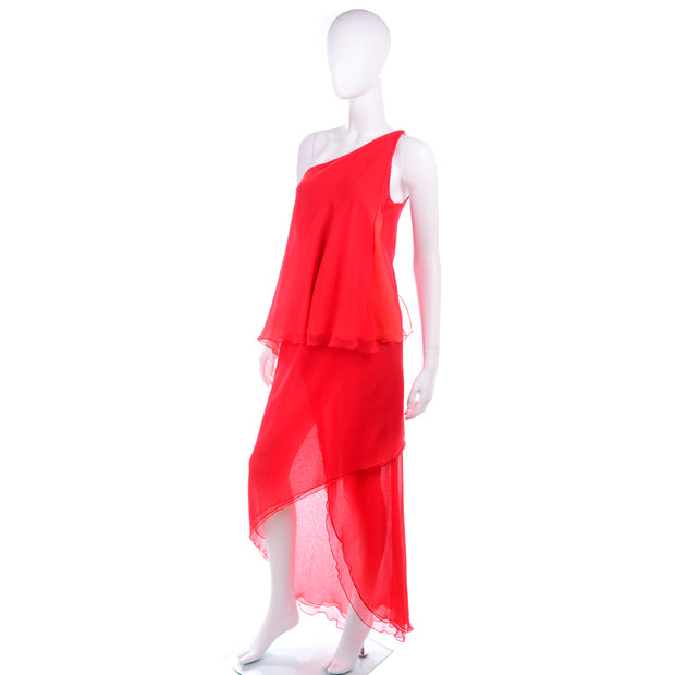 1970s Victor Costa Vintage Chiffon One Shoulder red Dress