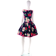 1980s Floral Victor Costa Dress Size 6/8