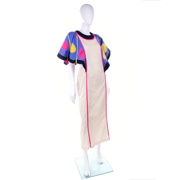Victor Costa Vintage House Dress W/ Colorful Butterfly Wing Sleeves