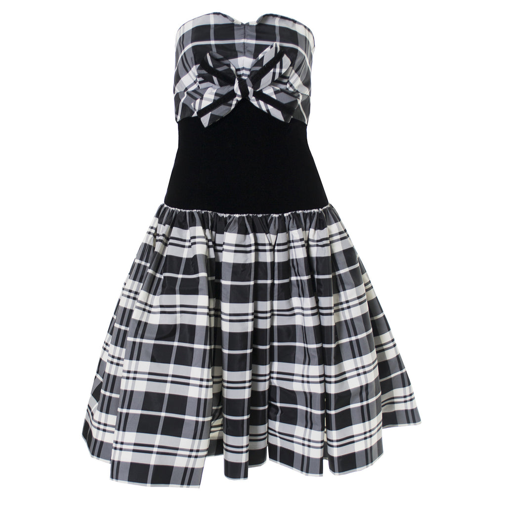 Strapless vintage Victor Costa dress with plaid bow and black velvet