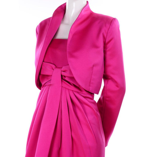 1980's Victor Costa Shocking Pink Strapless Dress W/ Cropped Bolero Jacket