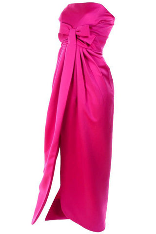1980's Bill Blass Vintage Black Evening Dress w/ Pink Red Statement Bow