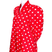 1980s Vintage Victor Costa Bergdorf Goodman Red White Polka Dot Coat