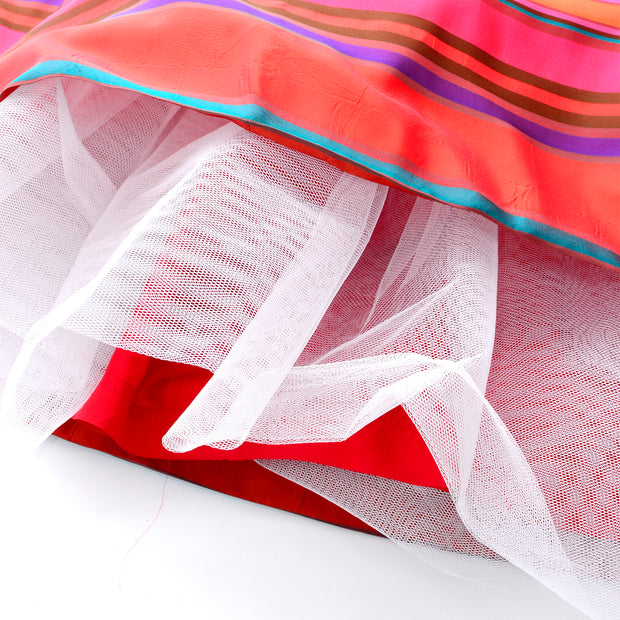 Attached crinoline inside of 1980's vintage striped gown