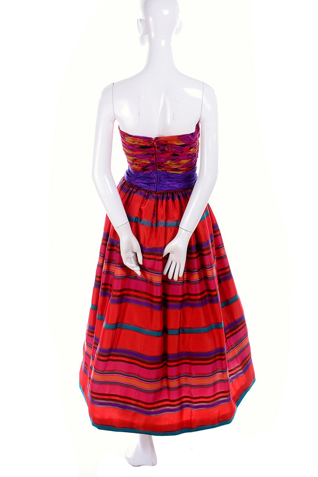 Striped Victoria Royal ankle length vintage dress from the 1980's