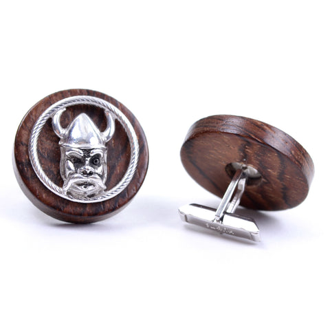 Round vintage mid century wood and silver SWANK viking cuff links