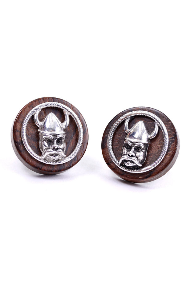 Round vintage mid century wood and silver SWANK viking cufflinks