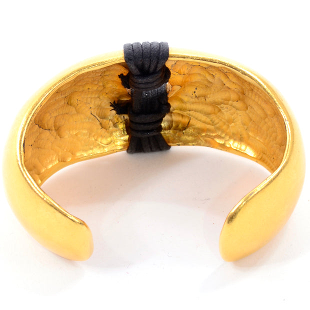 1980s Vintage Gold Plated Cuff Bracelet w/ Wrapped Black Band Details