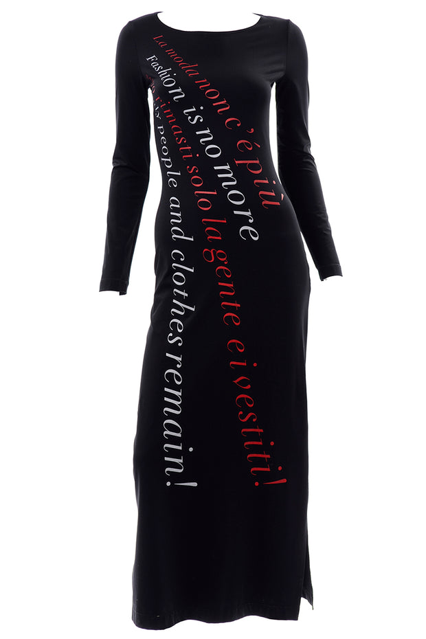 Franco Moschino 1990s Vintage Bodycon Statement Dress Fashion is no More