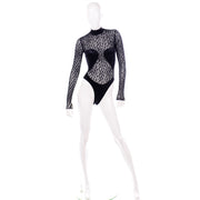 Azzedine Alaia 1991 Runway Animal Print Lace Velvet Bodysuit Top FW