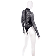 Important Azzedine Alaia 1991 Runway Animal Print Lace Velvet Bodysuit Top