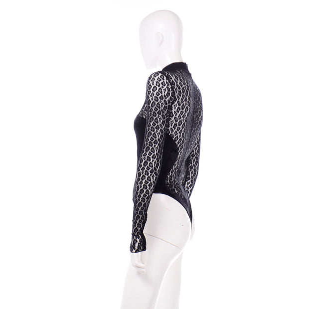 Rare Azzedine Alaia 1991 Runway Animal Print Lace Velvet Bodysuit Top