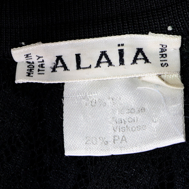 Black Azzedine Alaia 1991 Runway Animal Print Lace Velvet Bodysuit Top