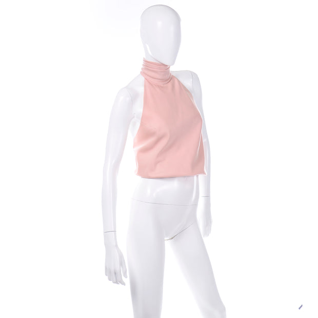 Vintage Anne Klein Petal Pink Halter top with turtleneck
