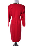 Bullocks Wilshire Vintage Beaded Red Knit Dress 1980's