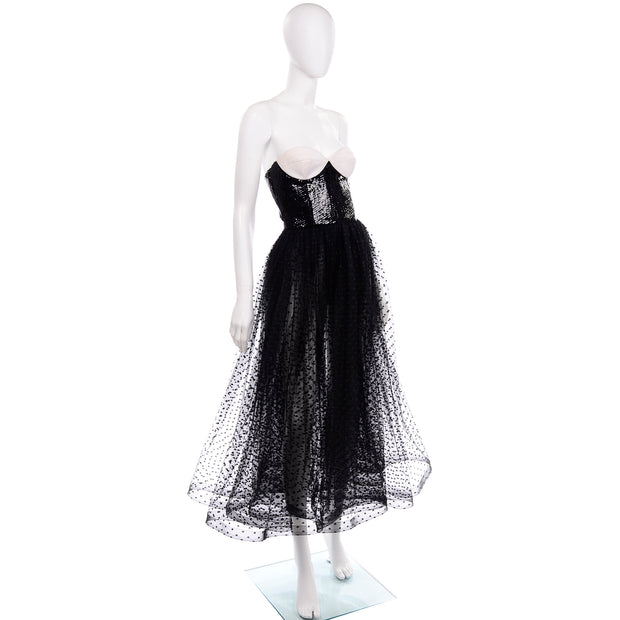Vintage Bill Blass Tulle Sequin Strapless Dress Black & White