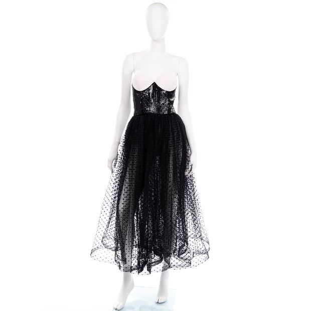 Rare Vintage Bill Blass Tulle Sequin Strapless Dress