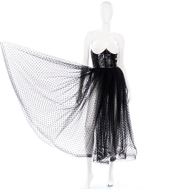 Vintage Bill Blass Tulle Sequin Strapless Dress Bustier