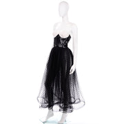 Vintage Bill Blass Tulle Sequin Strapless Bustier Evening Dress