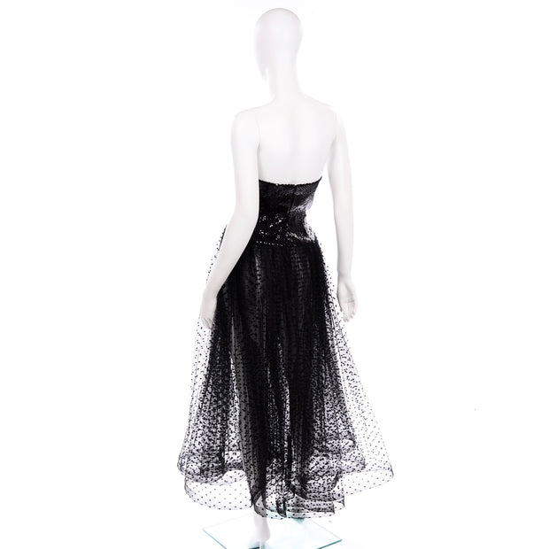 Vintage Bill Blass Tulle Sequin Strapless Dress Black Net