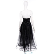 1980s Vintage Bill Blass Tulle Sequin Strapless Dress