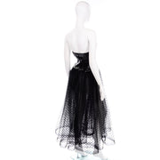 Vintage Bill Blass Tulle Sequin Strapless Evening Dress