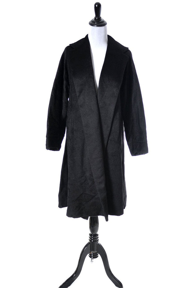 1950's Vintage Black Mohair Coat with Large Shawl Collar