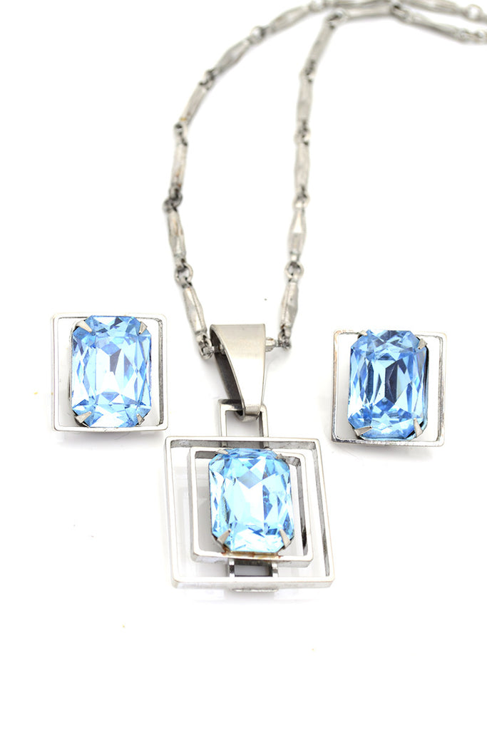 Art Deco Vintage Necklace Earrings Blue Silver