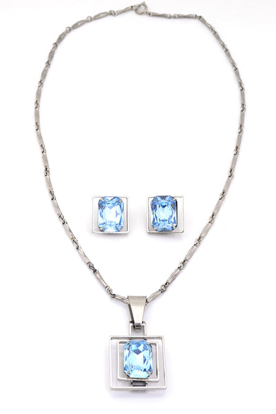 Art Deco Vintage Necklace Earrings Blue