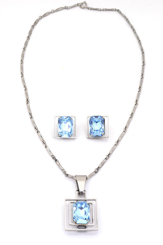 Faceted Crystal Vintage Necklace and Earrings Aurora Borealis