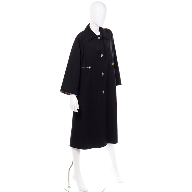 1970s Vintage Bonnie Cashin Black Coat All Weather Raincoat w Tan Cashmere Lining