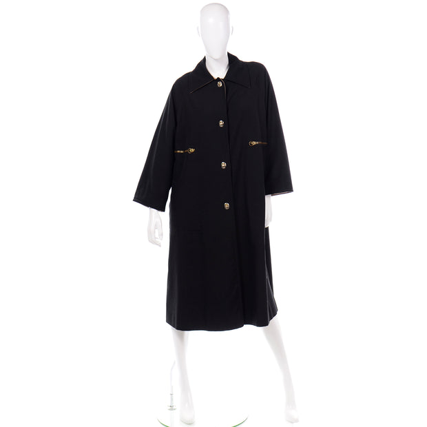 1970s Vintage Bonnie Cashin Black Coat All Weather Raincoat w Cashmere Lining 70s
