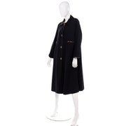 1970s Vintage Bonnie Cashin Black Canvas Coat All Weather Raincoat w Cashmere Lining