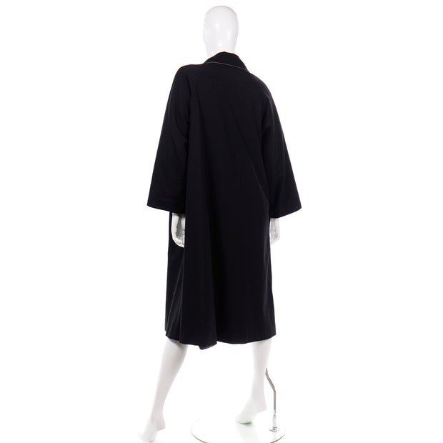 70s Vintage Bonnie Cashin Black Coat All Weather Raincoat w Cashmere Lining
