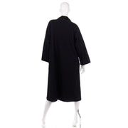 Vintage Bonnie Cashin Black Coat All Weather Raincoat w Tan Cashmere Lining