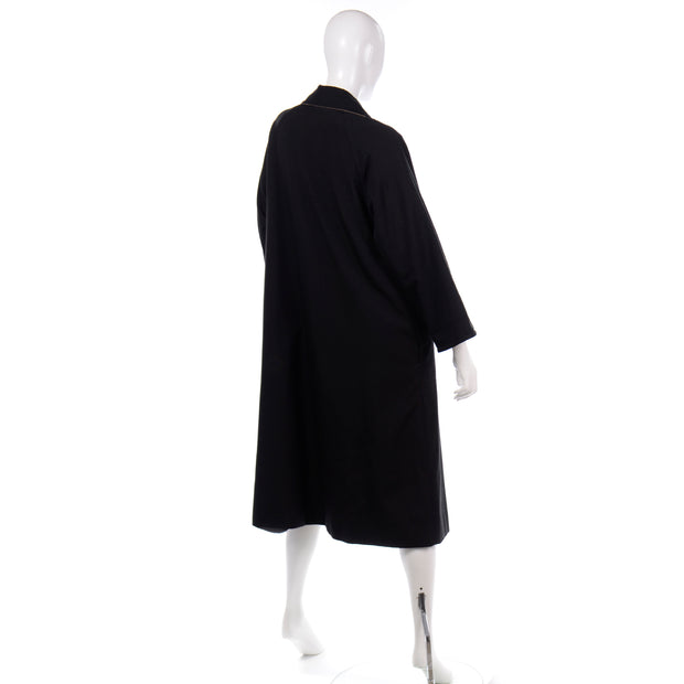 70s   1970s Vintage Bonnie Cashin Black Coat All Weather Raincoat w Cashmere Lining