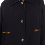 Canvas 1970s Vintage Bonnie Cashin Black Coat All Weather Raincoat w Cashmere Lining