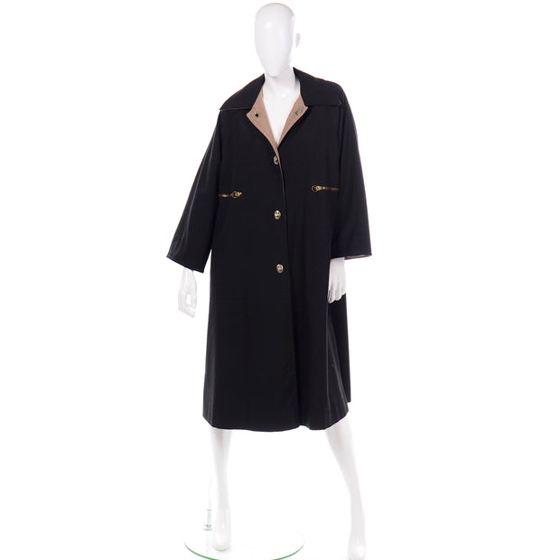 1970s Vintage Bonnie Cashin Black Coat All Weather Canvas Raincoat w Cashmere Lining