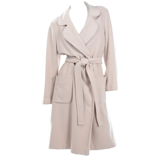 Vintage 100% Cashmere Cream Coat With Pockets and Sash Belt