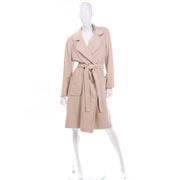 Vintage 100% Cashmere Cream Coat With Pockets and Sash Belt open front