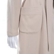 Vintage 100% Cashmere Cream Coat With patch Pockets and Sash Belt