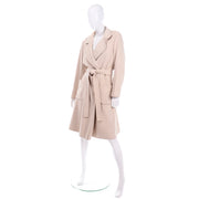 Vintage 100% Cashmere Cream Coat With Pockets and Sash Belt nice