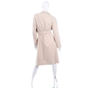 Vintage 100% Cashmere Cream Coat With Pockets and Sash Belt one size