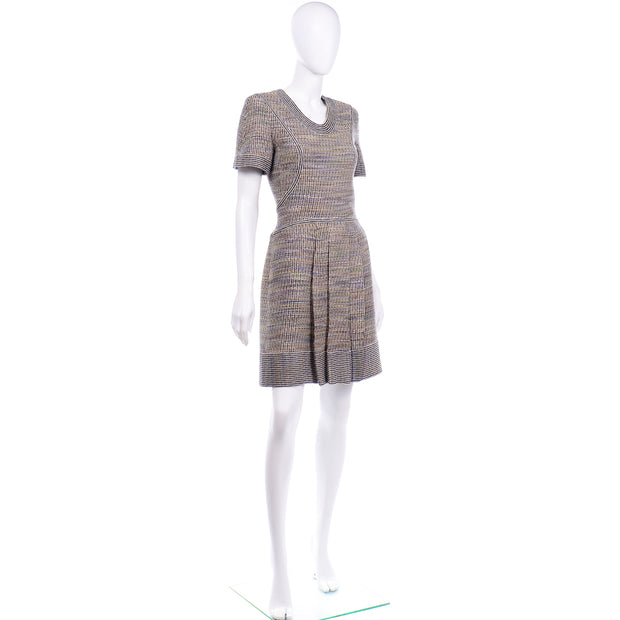 Chanel Spring Summer 2015 Multicolored Tweed Dress pleated skirt
